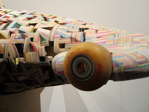 haroshi recycled skateboard sculptures shark