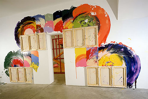 artist painter painting richard jackson  installation painting canvas as brush