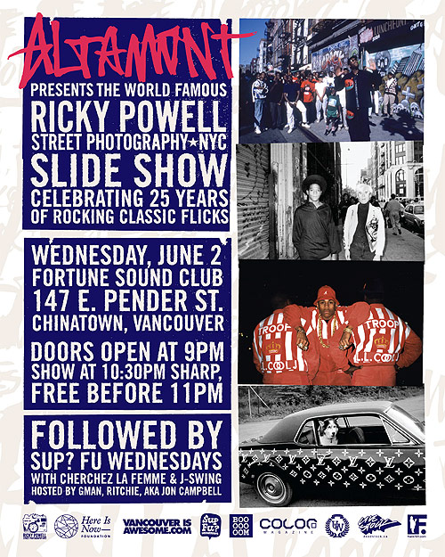 Street photographer Ricky Powell Fortune Sound Club Vancouver