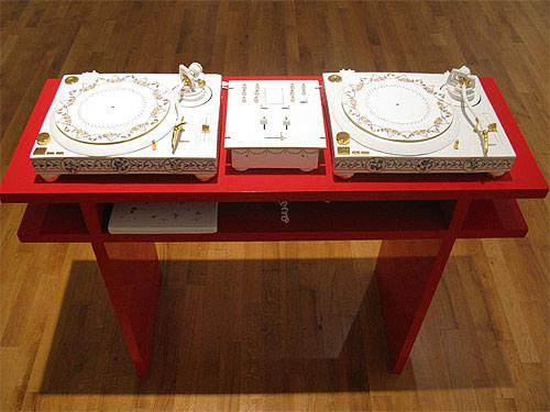 fabien clerc earthenware glazed turntables sculpture