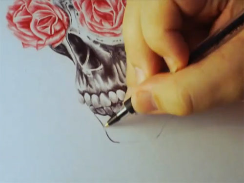 Skull with rose eyes by Paul Alexander Thornton