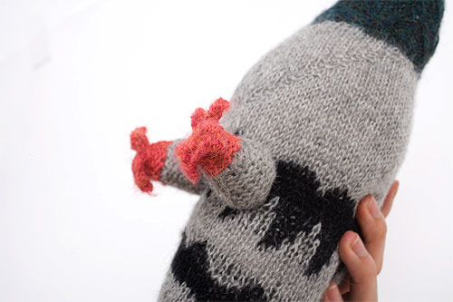 hand-knit pigeon various projects