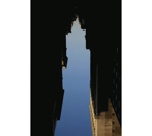 Buildings made of sky photos by Artist Peter Wegner