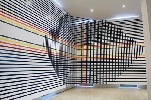 tape art installations artist rebecca ward