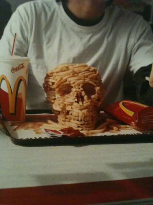 Mcdonalds french fry skull sculpture