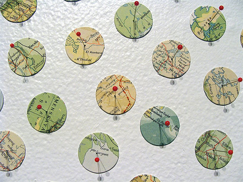 map art shannon rankin mps pins glue collage installations