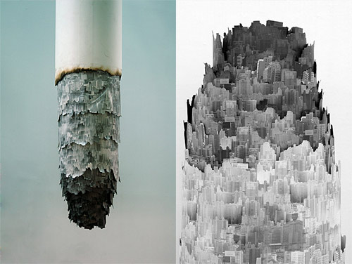 cigarette ash landscape sculpture photography installation by yang yongliang