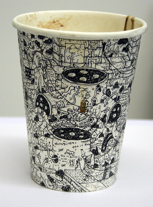 coffee cup drawings by artist paul westcombe