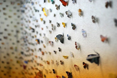 Butterfly's Eye View by Eiji Watanabe installation cut paper