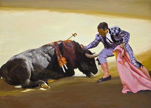 Artist painter Eric Fischl painting