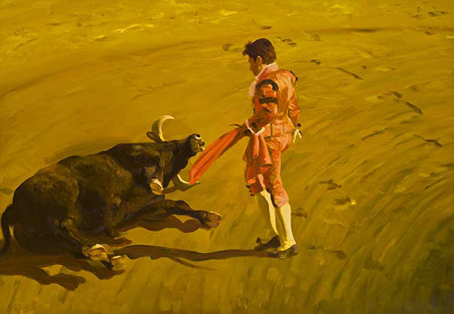 Artist painter Eric Fischl painting
