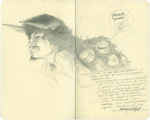 Moleskine drawings by artist Chamo San