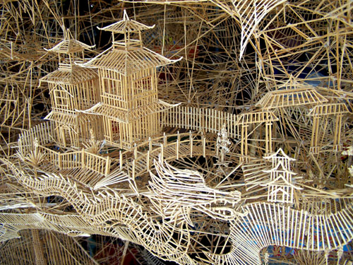 Rolling through the Bay by largest kinetic sculpture made of toothpicks Scott Weaver
