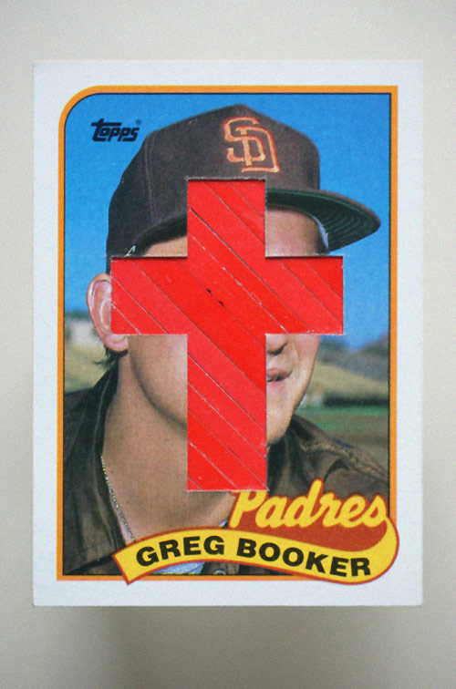 Altered baseball cards by artist Christopher Gideon