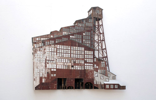 Sculptures by artist Ron van der Ende made of found scrap wood