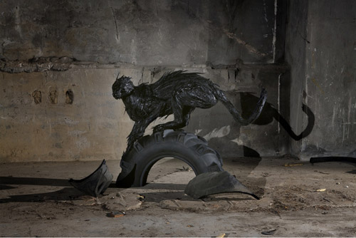 Recycled tire sculptures by korean artist sculptor Yong Ho Ji