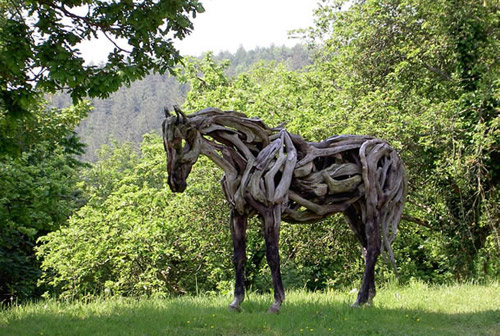 Driftwood sculptures by artist Heather Jansch