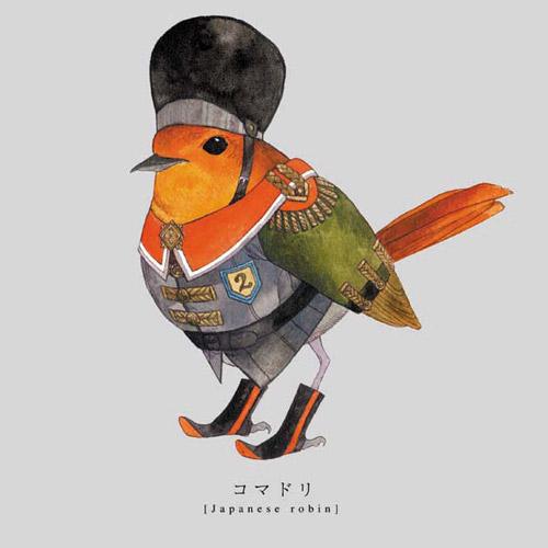 Torigun birds dressed in military uniforms by Japanese artist Sato