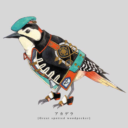 Torigun birds dressed in military uniforms by Japanese artist Sato