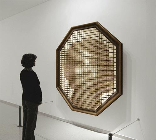 Wooden Mirror by Daniel Rozin