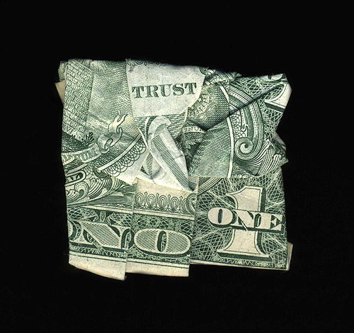 Folded dollar bills artworks by artist Dan Tague