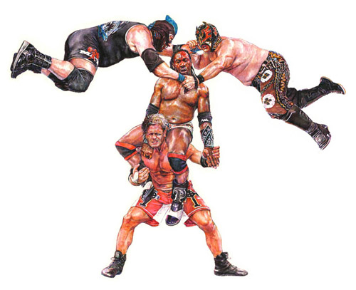 Wrestling watercolor paintings by Patrick Krzyzanowski