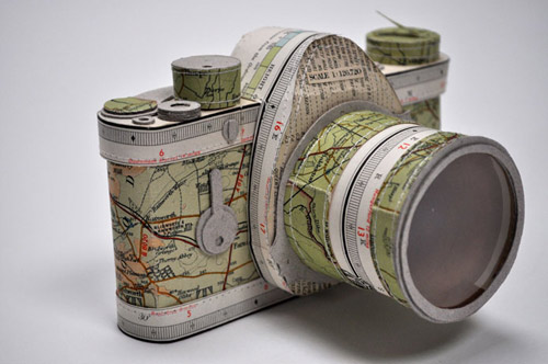 Stitched paper cameras by Jennifer Collier