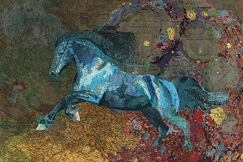 Collaged maps by artist Matthew Cusick