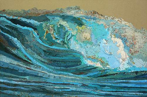 Collaged maps by artist Matthew Cusick