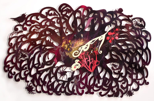 Intricately cut paintings by artist painter Resa Blatman