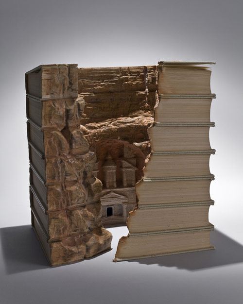 Book sculptures by artist Guy Laramee