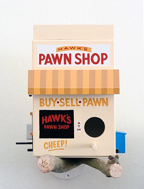 Birdhouses by artist Jeff Canham