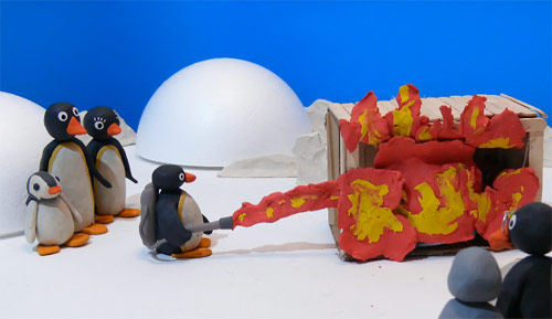 Pingu claymation remake of The Thing
