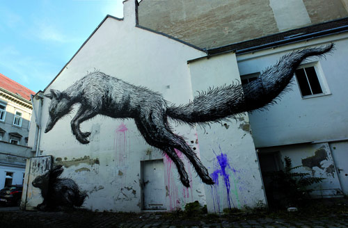 Street paintings by artist ROA