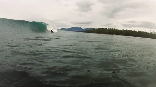 North surfing in Tofino British Columbia Canada