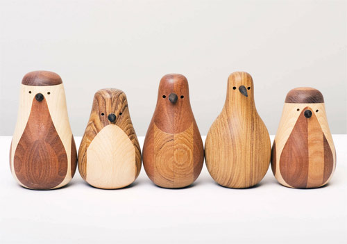 Re-turned recycled chair legs become birds by Beller
