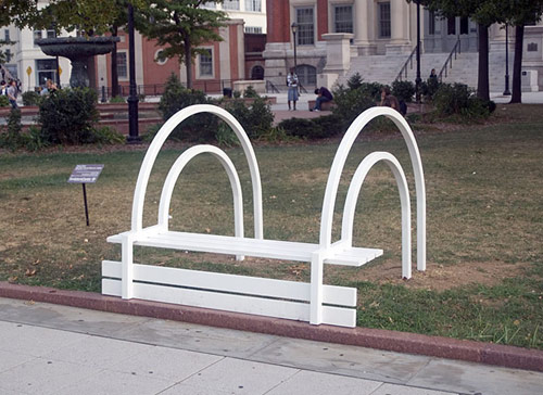 artist Jeppe Hein modified social park benches
