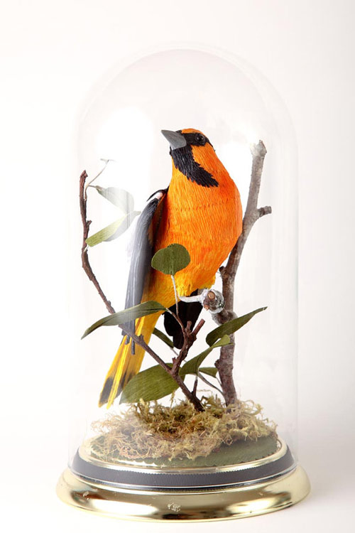 Vegan Taxidermy crepe paper birds by artist Aimee Baldwin