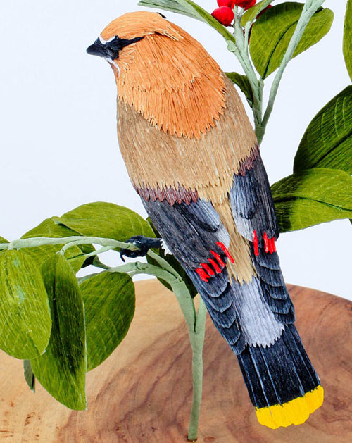 Vegan Taxidermy crepe paper birds by artist Aimee Baldwin