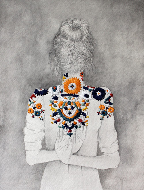 Embroidered drawings by artist Izziyana Suhaimi