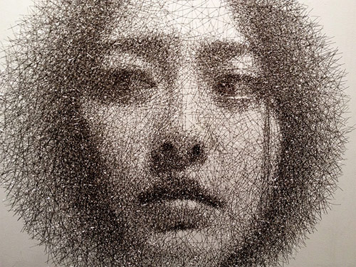 Wire mesh portraits by Seung Mo Park
