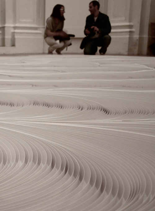 Installation made of 10,000 strips of paper by Daniele Papuli