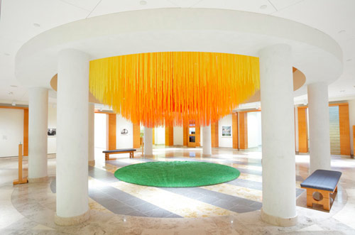 Installation using 84 Miles of coloured string by Hot Tea