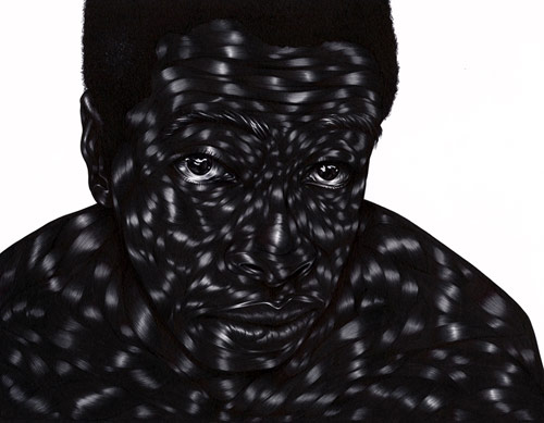 Pen drawings by artist Toyin Odutola