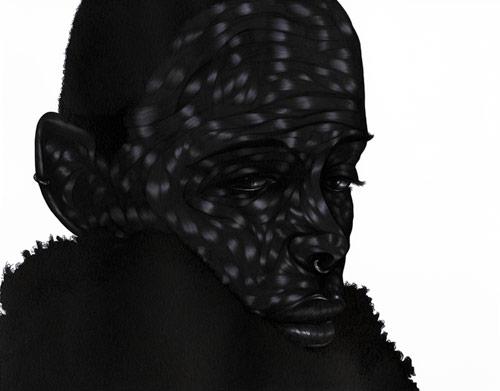 Pen drawings by artist Toyin Odutola