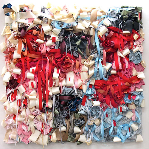 Ribbon and textile works by artist Vadis Turner