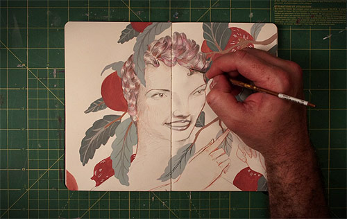 Time-lapse sketchbook drawings by Bryce Wymer