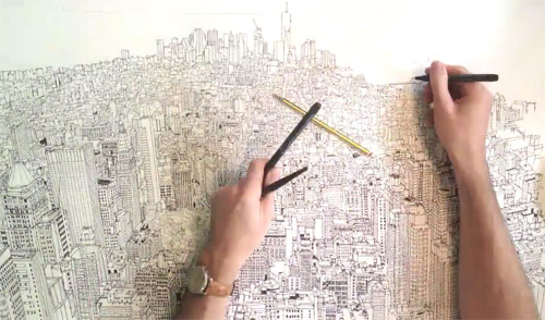 Time-lapse drawing of Manhattan
