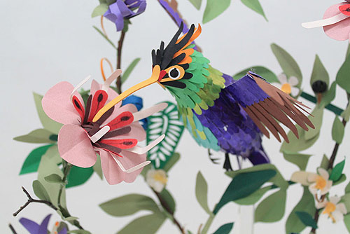 Paper bird sculptures by Diana Belt