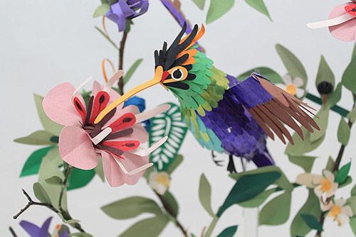Paper bird sculptures by Diana Beltran Herrera